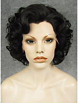 IMSTYLE 10Natural Black Big Curly Short Hair Synthetic Lace Front Wig Heat Resistant For Black Women