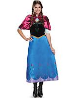 Costumes de Cosplay Princesse / Reine / Conte de Fée Cosplay de Film Bleu Couleur Pleine Robe / Châle Halloween / Carnaval Féminin