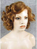 IMSTYLE 10Brown Big Curly Short Hair Synthetic Lace Front Wig Heat Resistant