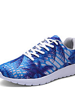 Men's Sneakers Spring Fall Comfort PU Casual Athletic Flat Heel Lace-up Blue Green Red