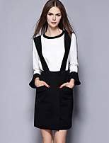 Women's Going out Street chic Fall Skirt Suits,Striped Round Neck Long Sleeve Blue Polyester