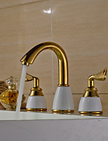Traditional Centerset Widespread with  Ceramic Valve Two Handles Three Holes for  Ti-PVD  Bathroom Sink Faucet