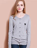 XuanFeiLu Women's V Neck Long Sleeve Sweater & Cardigan Gray-Q-606