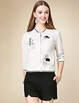 Damen Solide Einfach Lässig/Alltäglich Jacke,Herbst Ständer Langarm Weiß Mittel Baumwolle