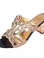 Women's Slippers & Flip-Flops Summer Comfort PU Dress Chunky Heel Crystal / Crystal Heel Black / Blue / Green Others