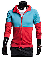 Men's Casual/Daily Active Regular HoodiesColor Block Blue / Black / Gray Sleeve Cotton Spring / Fall Thin