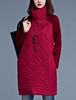 Ample Robe Femme Grandes Tailles simple,Couleur Pleine Col Roulé Au dessus du genou Manches Longues Rouge / Noir / Gris Coton / Polyester