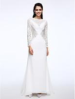 Lanting Bride® A-라인 웨딩 드레스 스윕 / 브러쉬 트레인 보트넥 쉬폰 / 레이스 와 레이스