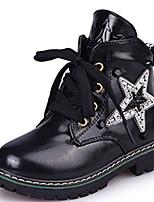 Girl's Boots Fall Winter Comfort Microfibre Dress Casual Flat Heel Sparkling Glitter Zipper Black Brown Red Walking