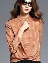 BOMOVO Women's Shirt Collar Long Sleeve Shirt & Blouse Khaki-B16QAN8