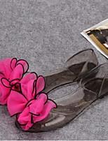 Women's Sandals Summer Comfort PVC Casual Flat Heel Bowknot Black Blue Pink Fuchsia Walking
