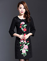 AINIER Women's Casual/Daily Chinoiserie Tunic DressEmbroidered Round Neck Above Knee  Sleeve Black Cotton