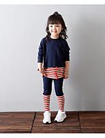 Girl's Casual/Daily Striped Hoodie & Sweatshirt / Pants / Clothing SetCotton Fall Blue