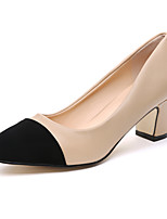 Women's Heels Spring / Summer / Fall / Winter Platform Microfibre / Fleece Outdoor / Party & Evening / Casual Chunky Heel Black / Almond