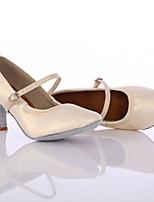 Customizable Women's Dance Shoes Leather Leather Latin / Dance Sneakers Heels Low Heel Indoor / Performance Black