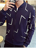 Men's Casual/Daily Simple Jackets,Print Stand Long Sleeve Fall Blue Polyester Thin