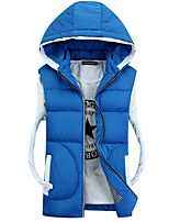 Men's Regular Padded Coat,Simple Casual/Daily Solid-Polyester Polypropylene Sleeveless Hooded Blue