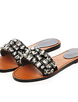 Damen-Sandalen-Lässig-Leder-Flacher Absatz-Komfort-Grau / Mehrfarbig