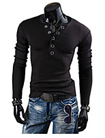 Brand Hight Quality Men's Casual/Daily Simple Spring / Fall T-shirt V Neck Long Sleeve Blue / Gray Hot Sale