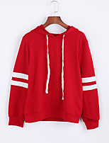Women'sSolid Red / White / Black Hooded Long Sleeve Cotton Fall Medium Micro-elastic