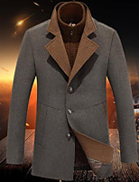 Men's Casual/Daily Simple Coat,Solid Long Sleeve Fall / Winter Brown Wool Medium