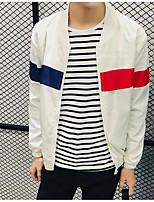 Мужчины На каждый день Контрастных цветов Куртка Воротник-стойка,Простое Осень Белый Длинный рукав,Хлопок,Средняя