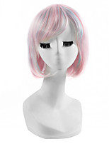 Capless Lolita Fashion Short Pink Color Lovely Cosplay Hairstyle Highlight Mixed Color Synthetic Natural Wigs