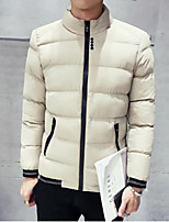 Men's Regular Padded Coat,Simple Casual/Daily Solid-Polyester Cotton Long Sleeve Beige