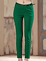 I'HAPPY Women's Solid Blue / Green / Yellow Chinos PantsSimple All Seasons