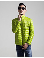 Men's Regular Down Coat,Simple Casual/Daily Solid-Polyester White Duck Down Long Sleeve Round Neck Green