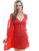 Women Suits NightwearSexy Solid-Thin Lace / Polyester Blue / Red / Black Women's