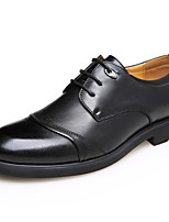 Черный / Коричневый-Мужской-Для офиса / На каждый день-Кожа-На толстом каблуке-Удобная обувь-Туфли на шнуровке