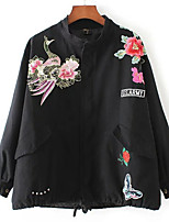 Women's Casual/Daily Simple Jackets,Embroidered Long Sleeve Winter Black Cotton