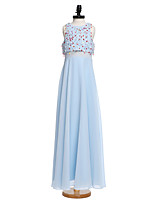 Lanting Bride Floor-length Chiffon Junior Bridesmaid Dress A-line Jewel with Beading / Sequins