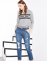 I'HAPPY Women's Solid Blue Jeans PantsStreet chic Spring / Summer
