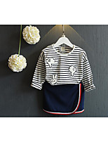 Girl's Casual/Daily Striped Tee / SkirtCotton Spring / Fall White