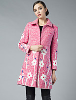 PROVERB Women's Casual/Daily Chinoiserie CoatJacquard Long Sleeve Fall / Winter Blue / Pink / Green Others