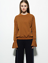 Women's Casual/Daily Going out Simple Sweatshirt Solid Round Neck Inelastic Cotton Long Sleeve Fall Winter