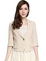 CANTO MOTTO Women's Casual/Daily Simple JacketsSolid Notch Lapel  Sleeve Fall Beige Polyester Thin