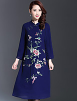 AINIER Women's Casual/Daily Chinoiserie Tunic DressJacquard Stand Knee-length Long Sleeve Blue Polyester Spring / Fall Mid Rise Inelastic Medium