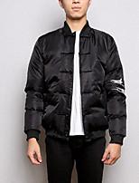Пальто Простое Обычная На подкладке Мужчины,Однотонный На каждый день Нейлон Хлопок,Длинный рукав Черный