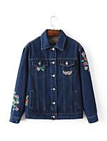 Женский На каждый день Вышивка Джинсовые куртки Рубашечный воротник,Простое Осень Синий Длинный рукав,Полиэстер,Толстая