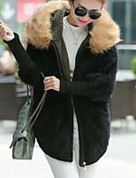 Normal Pullover Femme Décontracté / Quotidien simple,Couleur Pleine Rouge / Noir Revers Cranté Manches Longues Fourrure de Lapin Hiver
