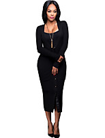 Women's Casual/Daily Simple / Street chic Bodycon DressSolid V Neck Knit Fashion Slim Sexy Midi Long Sleeve  Mid Rise