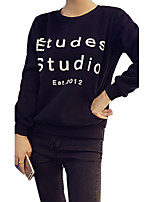 Women's Simple Regular HoodiesLetter Blue / Red / Black Round Neck Long Sleeve Cotton Fall Medium Micro-elastic