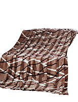 Bedtoppings Blanket Flannel Coral Fleece Fake Mink Queen Size 200x230cm Brown Stripe Prints 210GSM