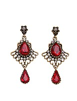European Luxury Gem Geometric Earrrings Exaggerated Palace Vintage Drop Earrings for Women Fashion Jewelry Best Gift