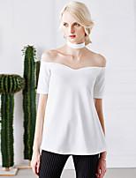 Tee-shirt Femme,Couleur Pleine Décontracté / Quotidien simple Eté Manches Courtes Epaules Dénudées Blanc / Noir Nylon Moyen
