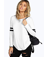 Women's Going out / Casual/Daily Simple / Street chic Slim Color Block Spring / Fall T-shirtStriped Round Neck Long Sleeve