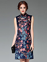 Women's Casual/Daily / Party/Cocktail Vintage / Chinoiserie / Sophisticated Sheath Dress,Embroidered Round Neck Above Knee SleevelessBlue